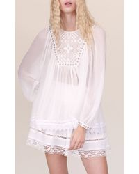 Rebecca Taylor - White Long Sleeve Embroidered Top - Lyst