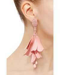 Oscar de la Renta - Metallic Flower Petal Drop Earrings - Lyst