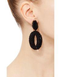 Oscar de la Renta - Black Beaded Frontal Hoop Earrings - Lyst