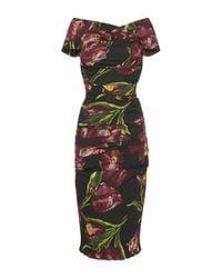Dolce & Gabbana | Natural Rose Print Brocade Dress | Lyst