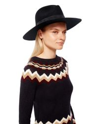 Janessa Leone Black Mira Fedora Hat
