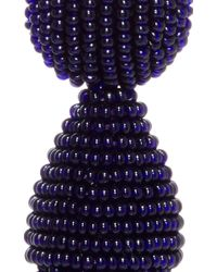 Oscar de la Renta | Blue Short Beaded Tassel Earring | Lyst