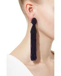 Oscar de la Renta | Blue Long Beaded Tassel Earring | Lyst