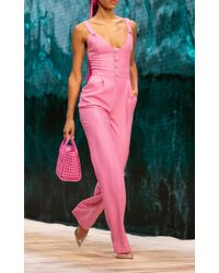 Ralph & Russo Pink Crystal-embellished Wool Jumpsuit