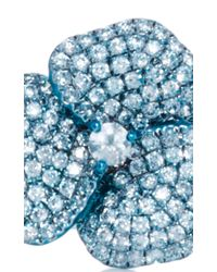 AS29 - Pave Blue Flower Ring - Lyst