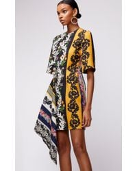Oscar de la Renta Multicolor Drape Front Short Sleeve Embroidered Mini Dress