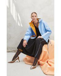 Marni Blue Hooded Leather Jacket