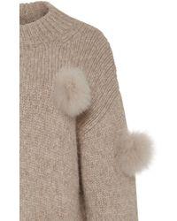 Tibi Multicolor Alpaca Pom Pom Sweater