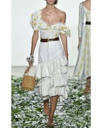 Brock Collection White High Waist Midi Sadie Skirt