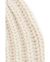 Agnona White Cashmere Ribbed Cap