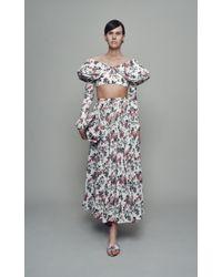 Emilia Wickstead White Rhea Floral Cotton-blend Skirt
