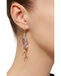 Annette Ferdinandsen Purple Large Simple Fish 18k Gold Amethyst Earrings