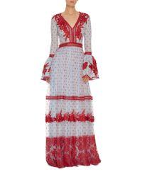 Costarellos Blue Bell Sleeve Long Dress