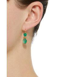 Renee Lewis - Green 18k Gold Cabochon Emerald Earrings - Lyst
