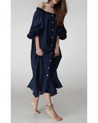 Sleeper Blue Ruffle Lounge Dress