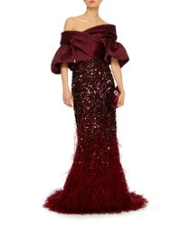 Elizabeth Kennedy Multicolor Off The Shoulder Gown With Feather Embroidery