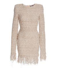 95b7586c Balmain Fringed Boucle Mini Dress in Pink - Lyst