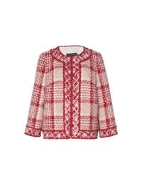 Andrew Gn Red Boxy Plaid Woven Jacket