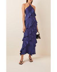 Maggie Marilyn Blue The No Worries Ruffled Crepe Halterneck Dress