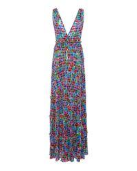 Missoni Blue Metallic Striped Maxi Dress