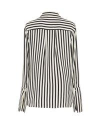 FRAME Black Striped Crepe De Chine Pajama Shirt
