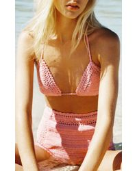 She Made Me - Pink Essential High Waisted Bikini Bottom - Lyst