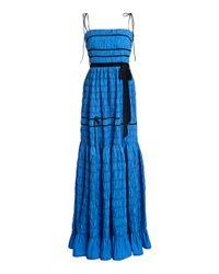 Molly Goddard Blue Minnie Ribbon-detailed Smocked Taffeta Maxi Dress