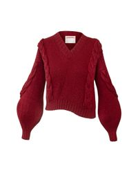 Alejandra Alonso Rojas Red Cable-knit Sweater