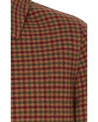 Prada Brown Plaid Wool Overcoat