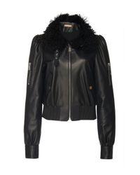 Michael Kors Black Shearling-trimmed Leather Motorcycle Jacket