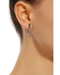 She Bee Rhodium-plated Blue Sapphire Drop Earrings