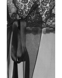 Dolce & Gabbana - Black Silk Blend Chiffon Lace Wrap Blouse - Lyst