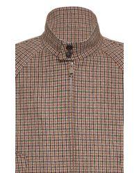 Prada Brown Harrington Houndstooth Wool-blend Bomber Jacket for men