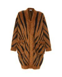 Max Mara Brown Carlo Oversized Animal-print Mohair-blend Cardigan