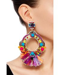 Ranjana Khan | Blue Fringe Embellished Circle Earrings | Lyst