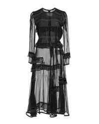 Burberry - Black Luggage Stitched Silk Ruffle Dress - Lyst