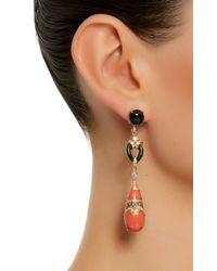 Wendy Yue - Orange Coral And Jade Drop Earrings - Lyst