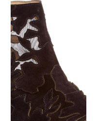 Elie Saab Black Suede And Lace Ankle Boot