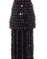 Oscar de la Renta - Black Long Beaded Tassel Earrings - Lyst