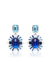 Oscar de la Renta | Blue Oval Multi Stone Earrings | Lyst