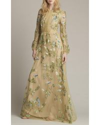 Monique Lhuillier Green Chartreuse Embroidered Long Sleeve Gown