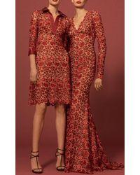 Naeem Khan Multicolor Floral Lace Gown