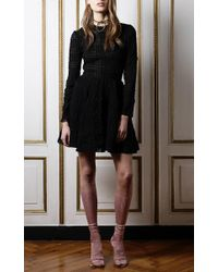 Francesco Scognamiglio - Black Devore Long Sleeve Cocktail Dress - Lyst