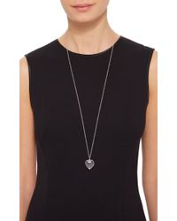 "Loquet London - Metallic White Gold Large Heart Locket On A 32"" White Gold Chain - Lyst"