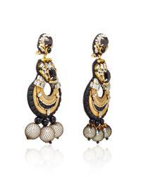 Naeem Khan - Metallic Onyx And Metal Mesh Covered Pearl Chandelier Earrings - Lyst