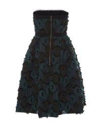 Saloni Green Anina Clipped Jacquard Dress