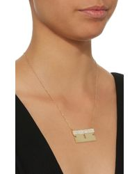 Established - Metallic 18k Gold And Diamond Razor Blade Necklace - Lyst