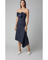 Monse Blue Twisted Off-the-shoulder Dress