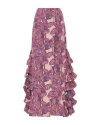 Kika Vargas | Purple Ruffle Embellished Flared Long Skirt | Lyst