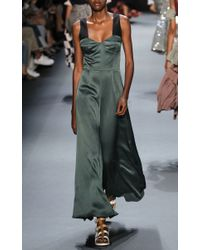 TOME | Green Structured Crepe Slip Dress | Lyst